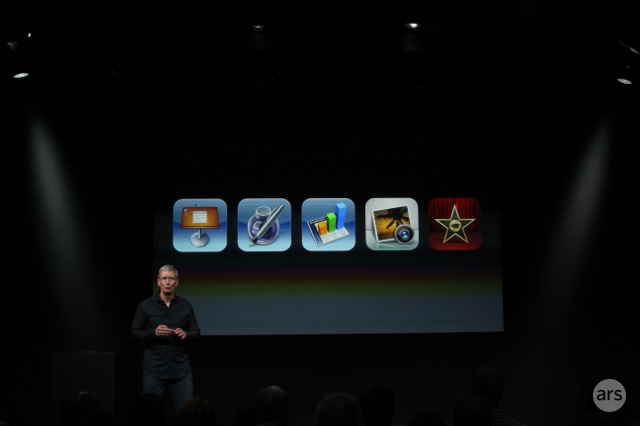 Apple CEO Tim Cook talks free apps at today's event.
