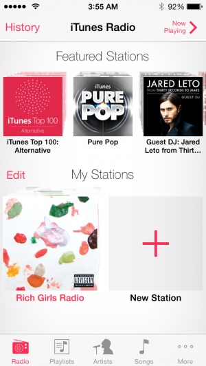 iTunes Radio is front-and-center in the new Music app.