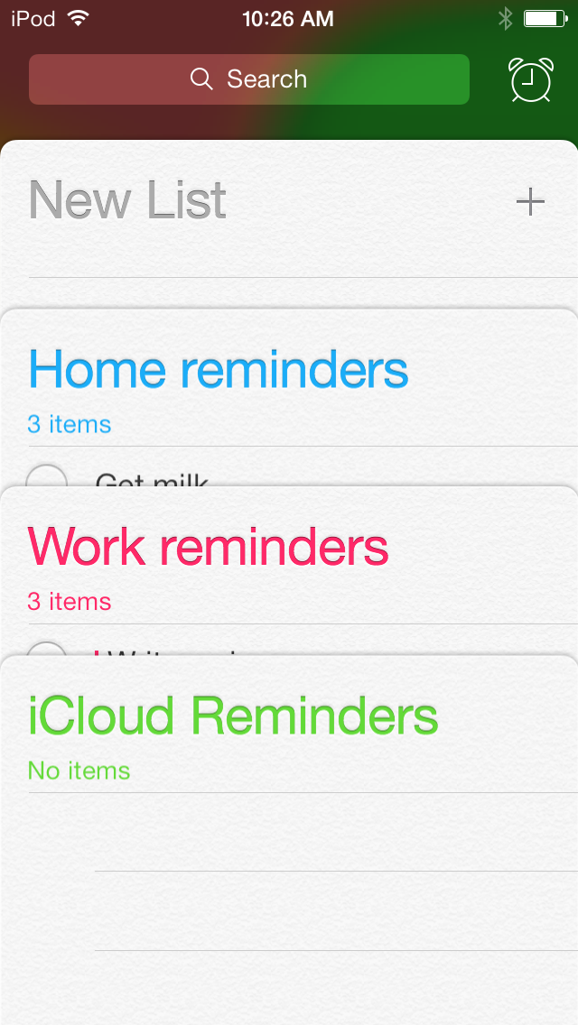 A stack of color-coded Reminders.