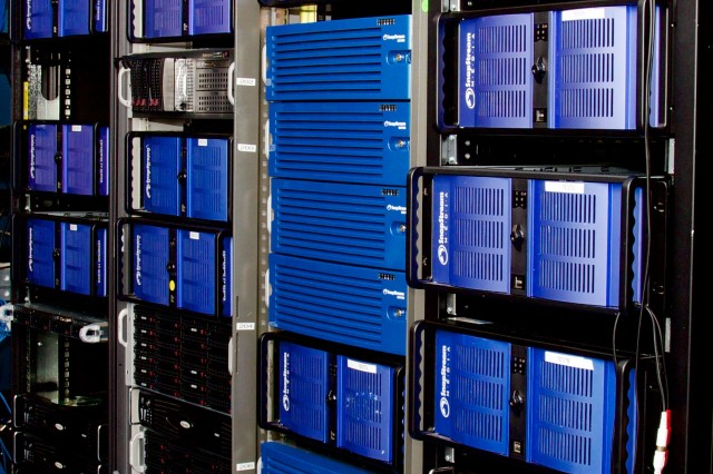 A peek into SnapStream's lab at their Houston office, showing racks of SnapStream Enterprise Servers and disks.