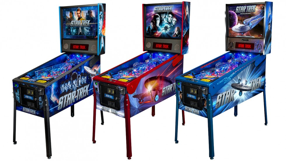 From left to right, the new Star Trek Pro, Premium, and Limited Edition pinball models.