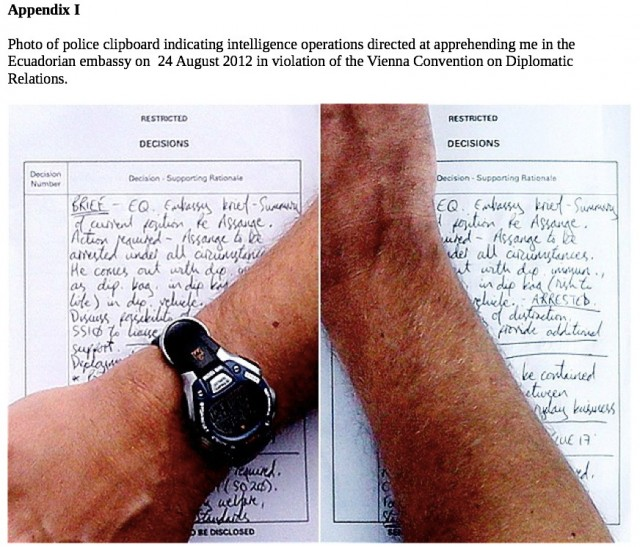 This UK press photo captured handwritten police notes concerning Julian Assange on August 24, 2012.