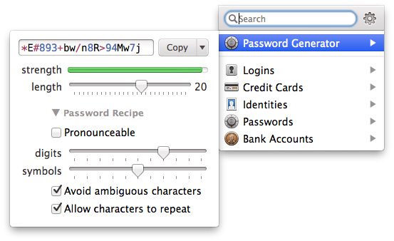 1Password Menubar tool.