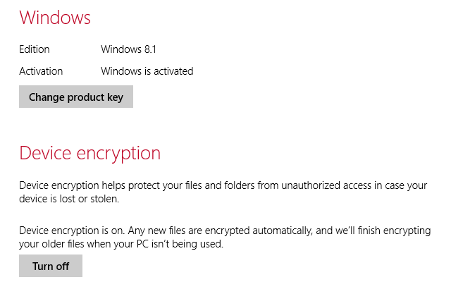 "A Windows 8.1 system automatically encrypted with the new ""Device encryption"" feature."