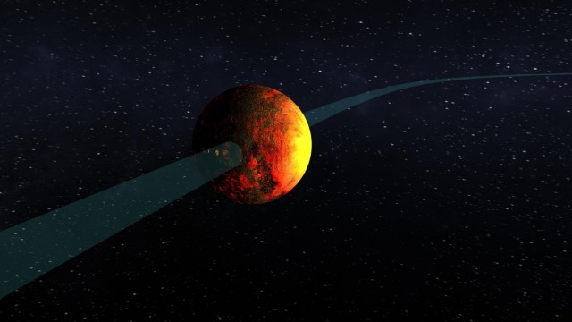 An artist's depiction of Kepler 10b, another planet that is tidally locked and orbits close to its host star.