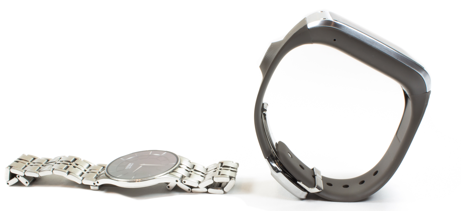 The stiff, supportive band of the Galaxy Gear stops it from resting on a wrist like a normal watch.