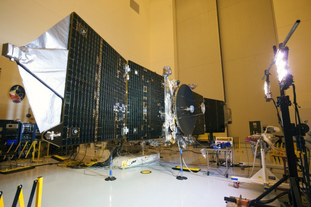 MAVEN shows off some of its communications hardware while on the ground.