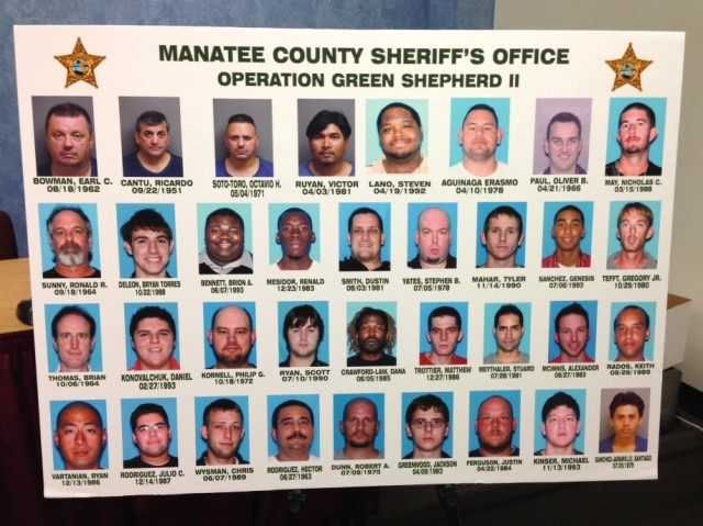 Mugshots released after Operation Green Shepherd II in Manatee County.