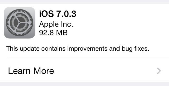 Apple releases iOS 7.0.3 to fix bugs, add iCloud Keychain support