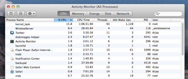 "Clicking on the ""% CPU"" column header (highlighted in blue) sorts the table view based on the values in that column."