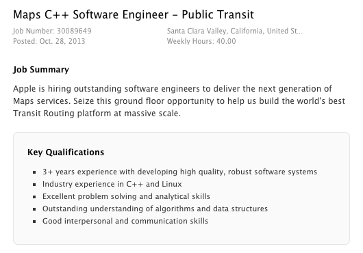 Job postings suggest Apple Maps may finally get public transit directions