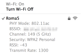 Connected to an AirPort Extreme at 1.3Gbps.