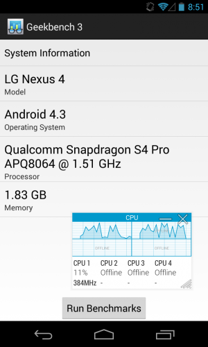 Geekbench 3 running on the Nexus 4, which idles normally—only one core is active, and it's running at the lowest possible clock speed.
