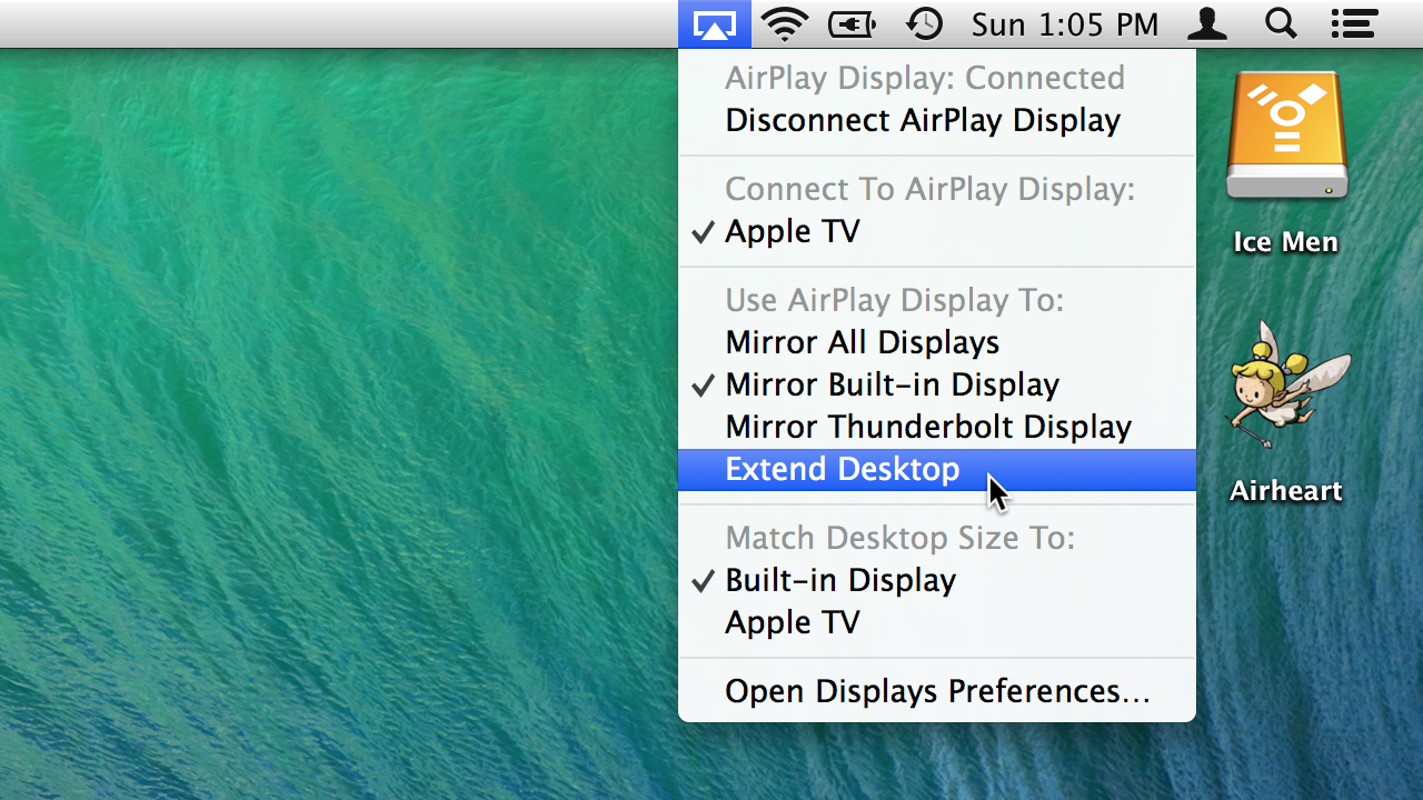 New AirPlay display options: extend, instead of just mirror.