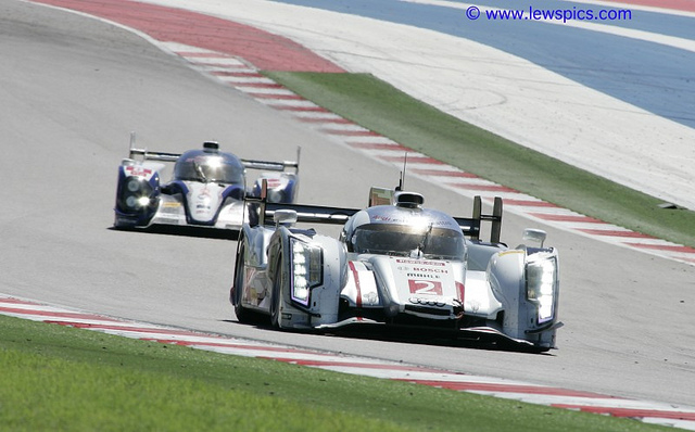 Audi and Toyota battle at the Circuit of the Americas in Austin, Texas.