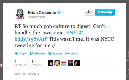Brian Crecente, Polygon editor, discovers NYCC's tweets on his behalf.