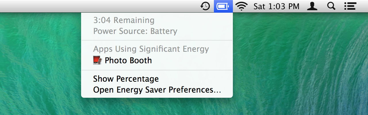 The battery status menu now calls out energy-hogging applications.