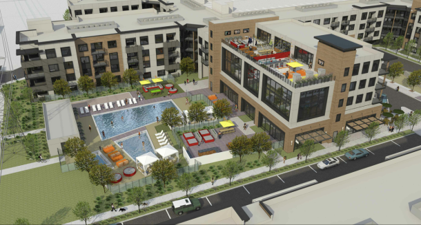 A rendering of Anton Menlo, the apartments Facebook plans to build in Menlo Park.