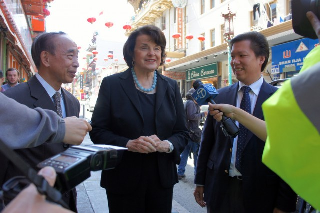 Sen. Dianne Feinstein (center), previously served as mayor of San Francisco for 10 years.