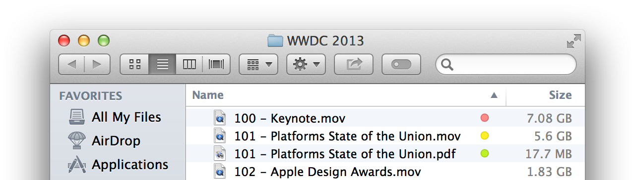 Finder Tags display: colored dots replace Mountain Lion's whole-row highlights.