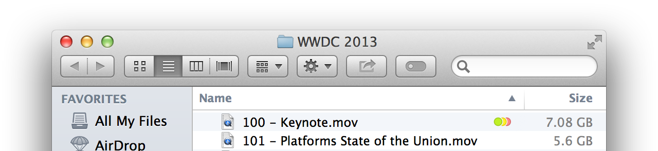 Multiple Tags as displayed in the Finder: the three most recent Tags are shown as dots.