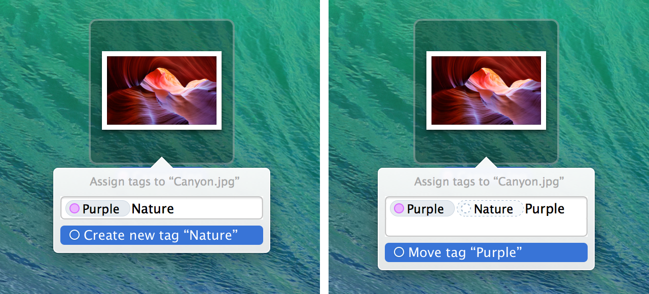 The Finder Tags popover: create a new Tag or move an existing Tag.