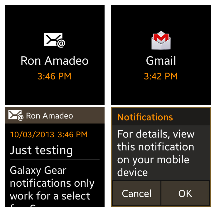 Left: The POP/Exchange e-mail app showing a message. Right: The worthless Gmail notification.