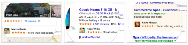 A sampling of what Google's shared endorsements will look like.