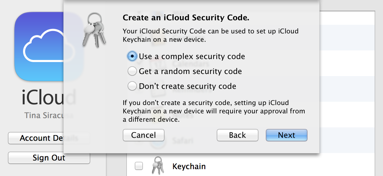 "iCloud Security Code ""Advanced"" options, including no security code at all."