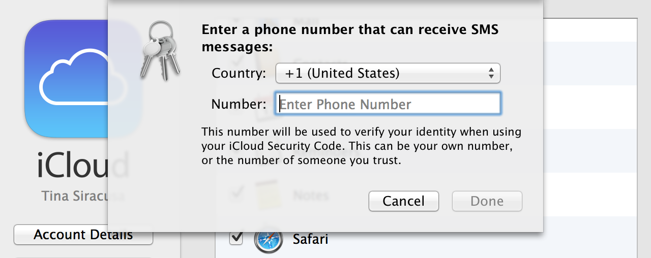 At last, the final step: a phone number to receive verification codes from Apple via SMS.