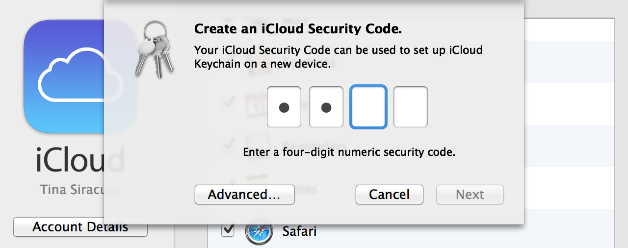 iCloud Security Code setup: 4-digit numeric, or…