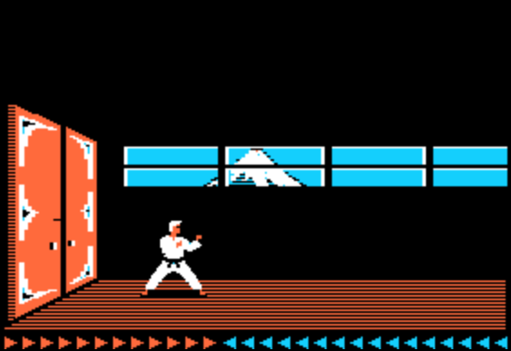 "The second ""level"" of Karateka, which is identical to the first level, except you're apparently indoors."