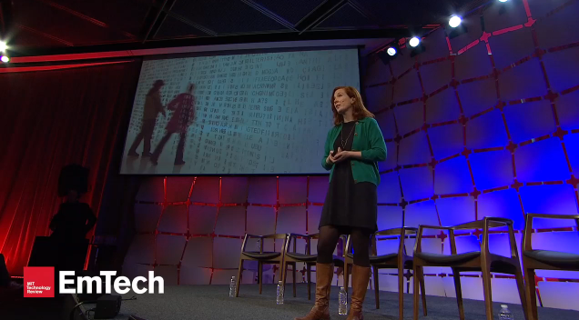 Kate Crawford speaking at the EmTech conference on privacy, big data, and the need for regulation.