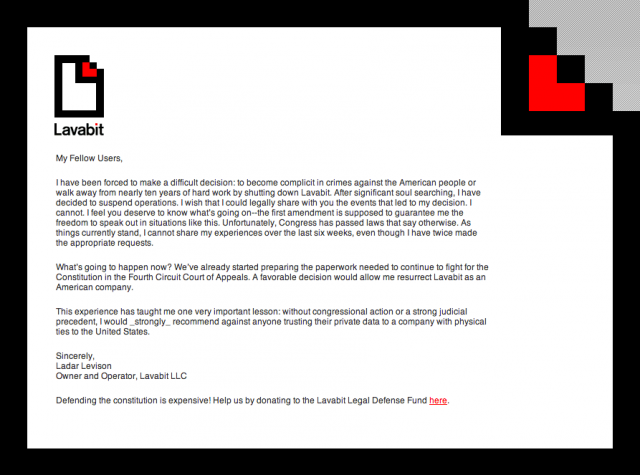 The message greeting visitors to lavabit.com.