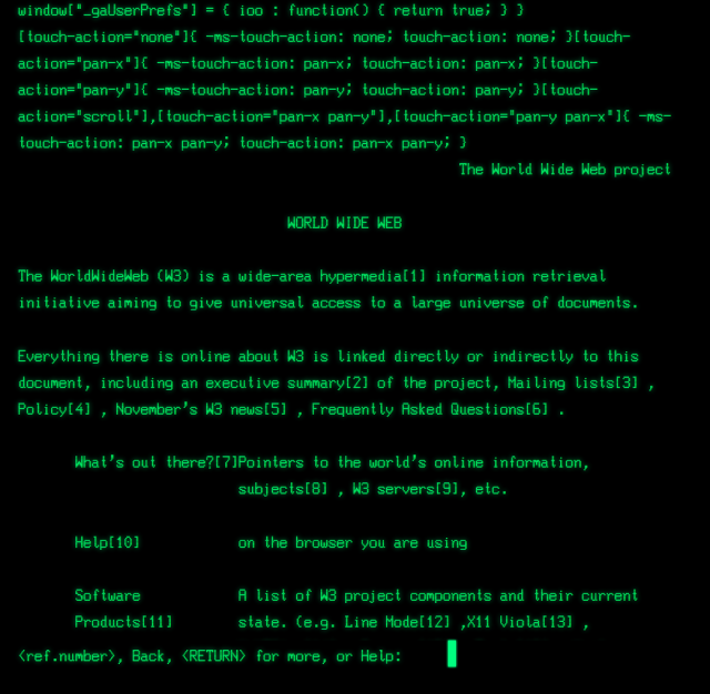 World's first webpage on the world's second Web browser.