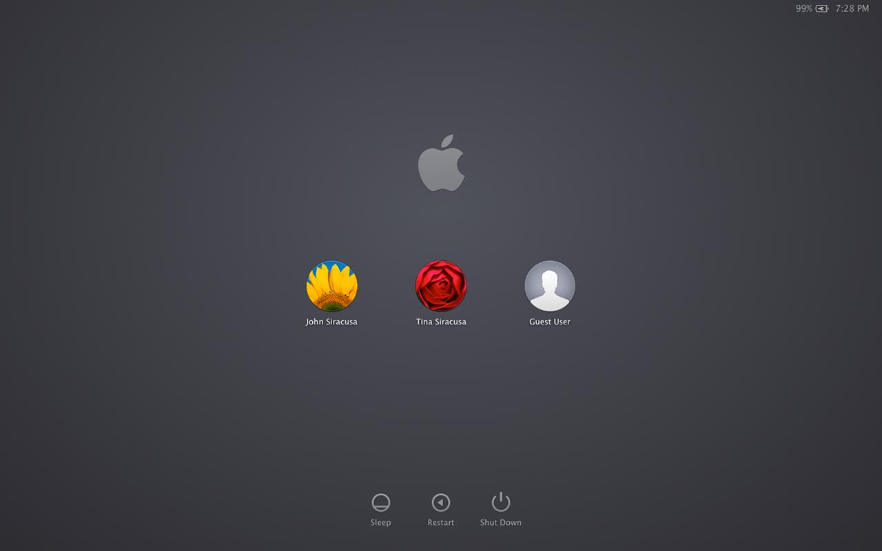 The new linen-free login window.