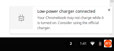 The Chromebook 11 will work with any micro-USB charger, but you'll get the best results from the power brick that comes with it.