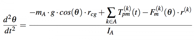"The ""torque balance"" equation that governs the blocks' movement. θ is an angle as a function of time, T(k) is the pure moment, which should be maximized, while the mass m and inertia I are minimized."