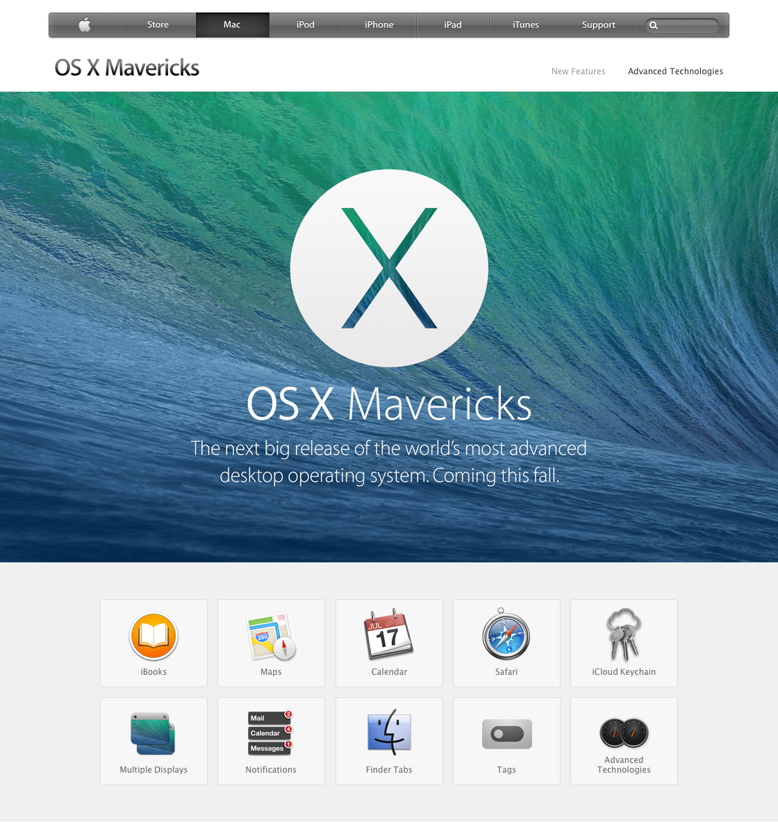 The Mavericks preview section of apple.com.