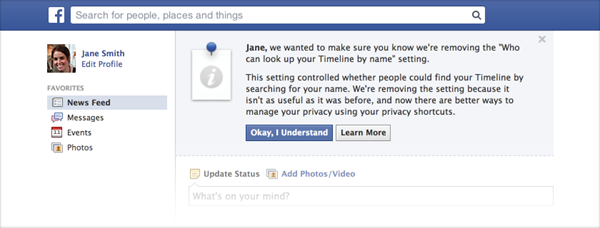 Here's the dialog you'll see if you were opted out of search, when Facebook gets around to opting you back in.