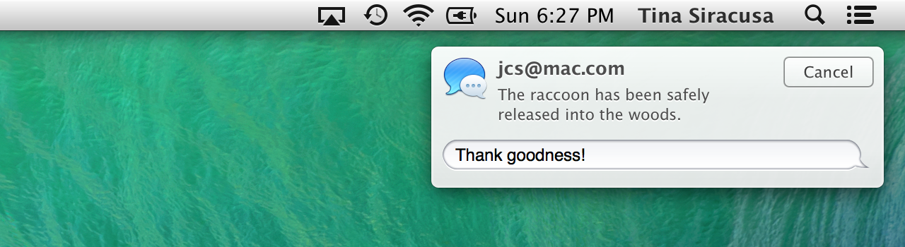 Replying to an instant message from within the notification.