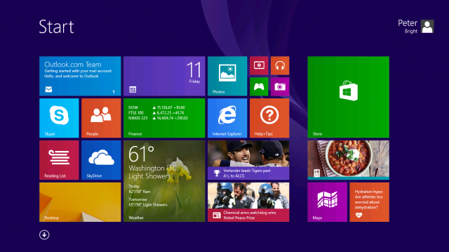 The default Windows 8.1 Start screen. Microsoft revived the Start Button on the desktop in October, to the relief of many.