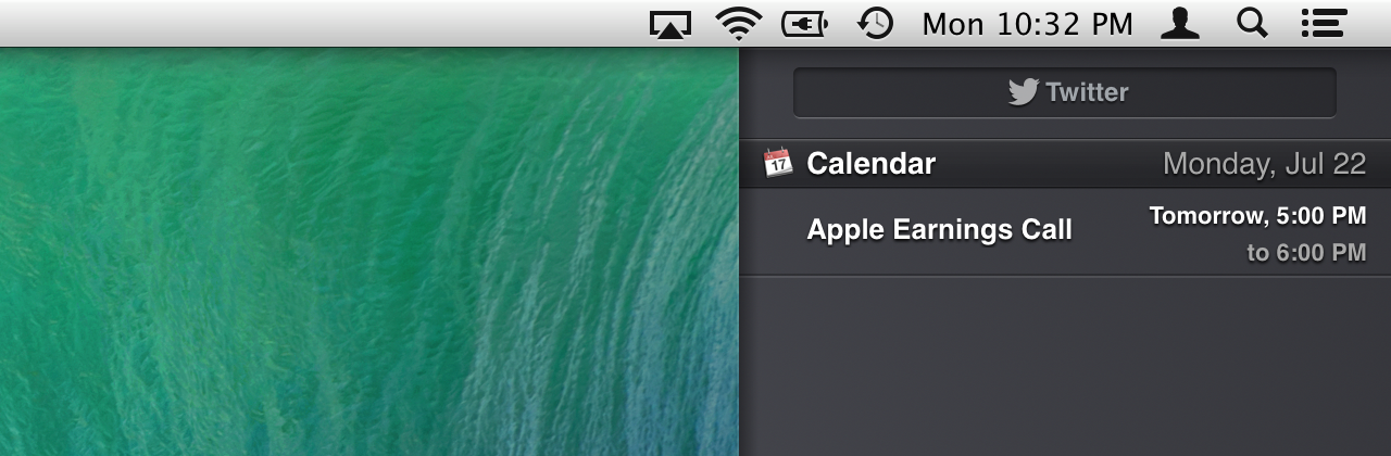 No linen in Notification Center either.