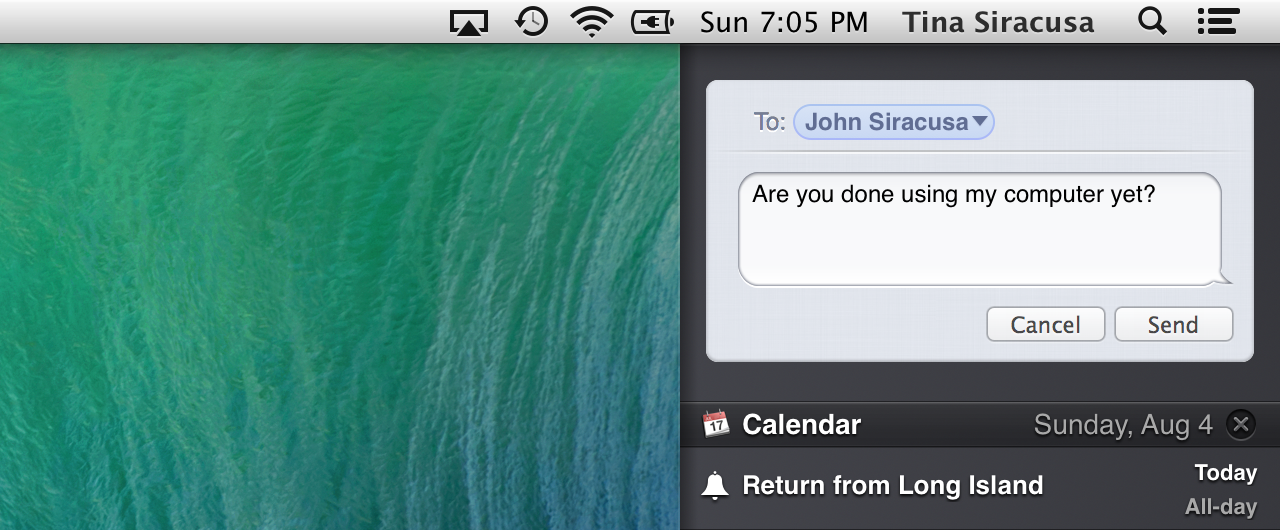 Sending an instant message from Notification Center.