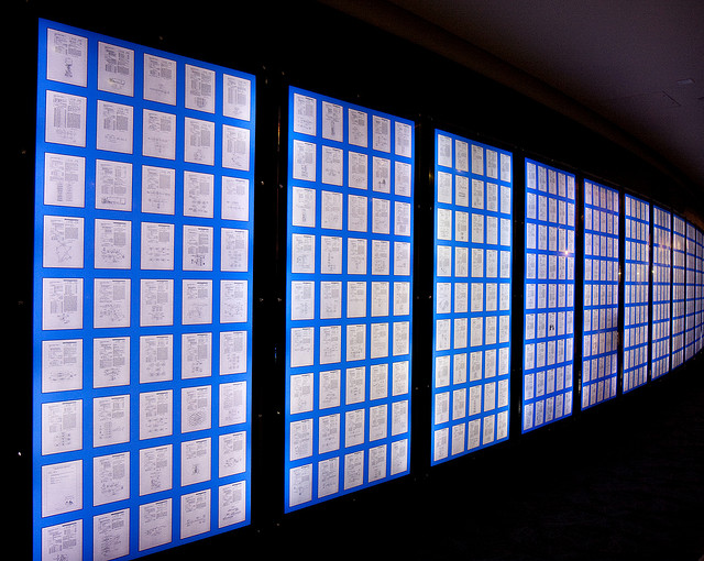 Qualcomm displays some of its patents on a wall in its headquarters in San Diego, California.