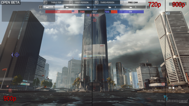A comparison image from the PC version of Battlefield 4 shows just how little difference there is in upscaled images starting at 720p vs. 900p.