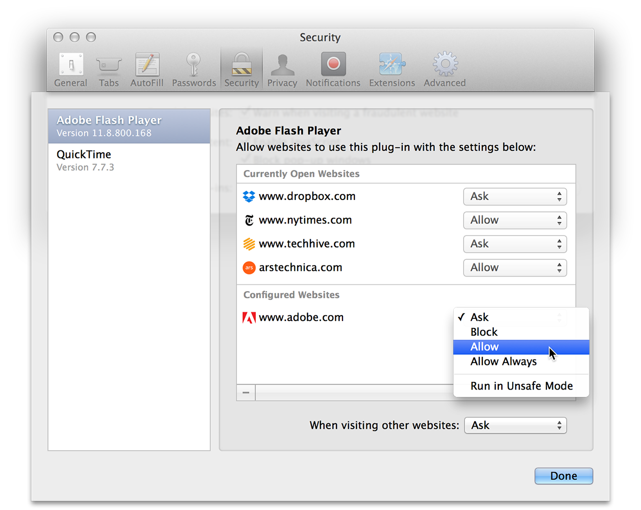 Safari's new per-site, per-plug-in security settings.