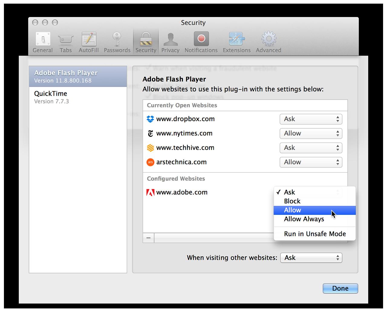 Safari's new per-site, per-plug-in security settings.