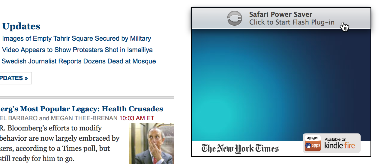Safari Power Saver in action: a Flash sidebar ad loads, but it's not allowed to run until clicked.