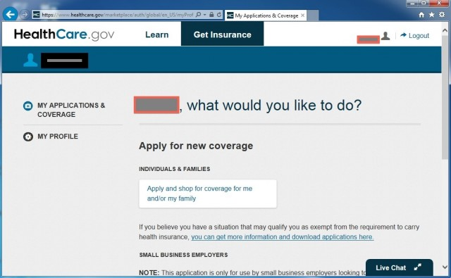 Healthcare.gov's profile page, where you provide your personal data, may not save changes you make...